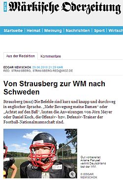 Von Strausberg zur WM nach Schweden (Presselinks)